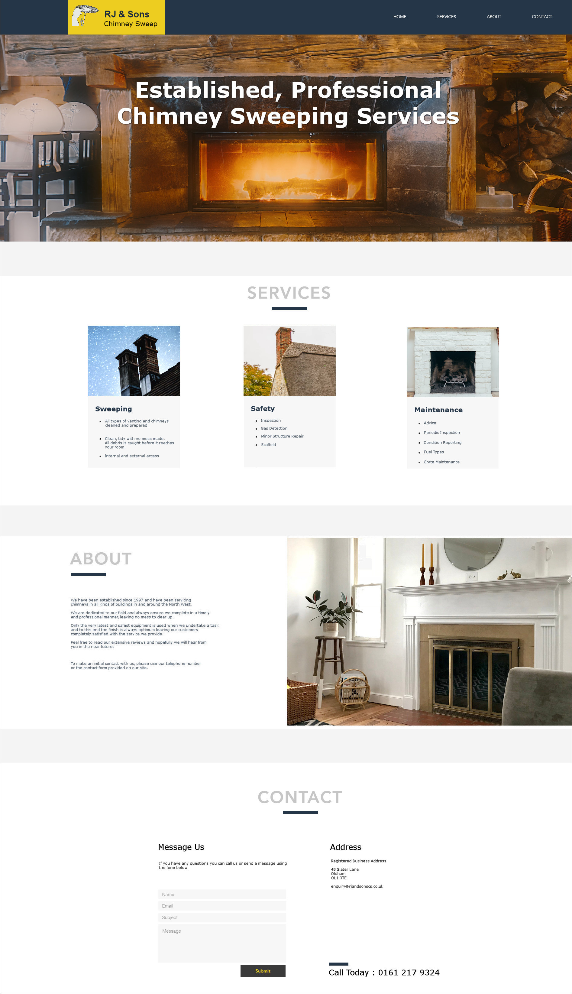 Web Design Example for a Chimney Sweep Company