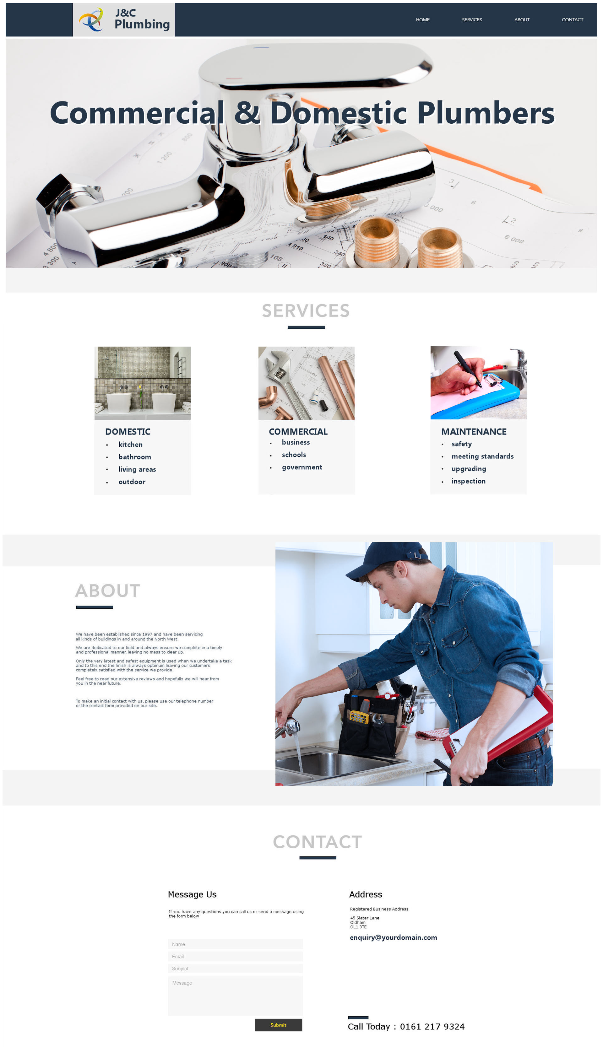 No Template web design for plumbers