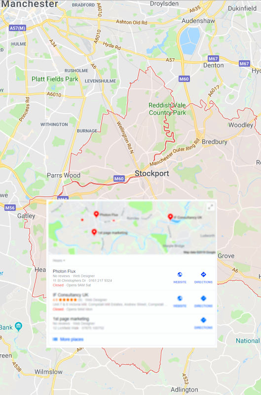 SERP listing and Local SEO in Stockport.